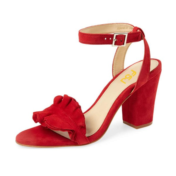 7c90e8be48536c Women s Red Suede Ruffle 3 Inches Chunky Heel Ankle Strap Sandals image ...