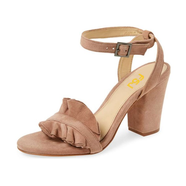 Women's Nude Suede Ruffle 3 Inches Chunky Heel Ankle Strap Sandals image 1