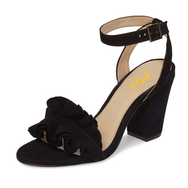Black Suede Ruffle 3 Inches Chunky Heel Ankle Strap Sandals image 1