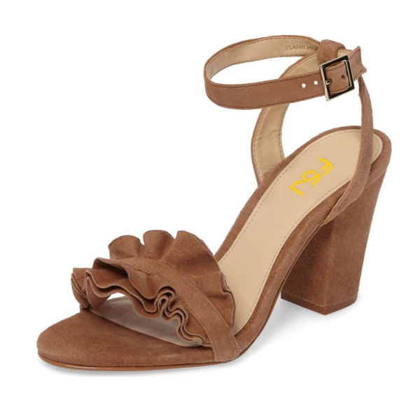 Women's Brown Suede Ruffle 3 Inches Chunky Heel Ankle Strap Sandals  image 1