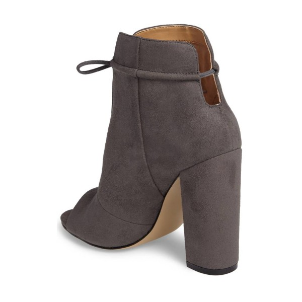 Dark Grey Suede Boots Front Tie up Peep Toe Chunky Heel Ankle Boots image 3