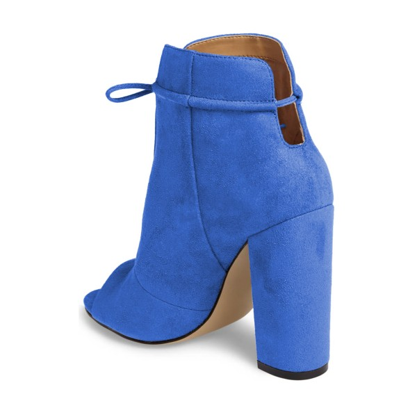 Blue Lace up Heels Peep Toe Hollow Out Chunky Heel Boots  image 2
