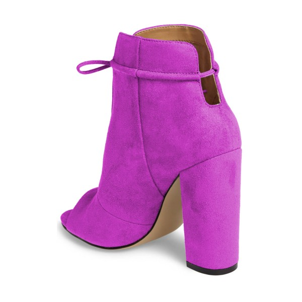 Women's Plum Chunky Heel Boots Lace Up Peep Toe Ankle Booties image 2