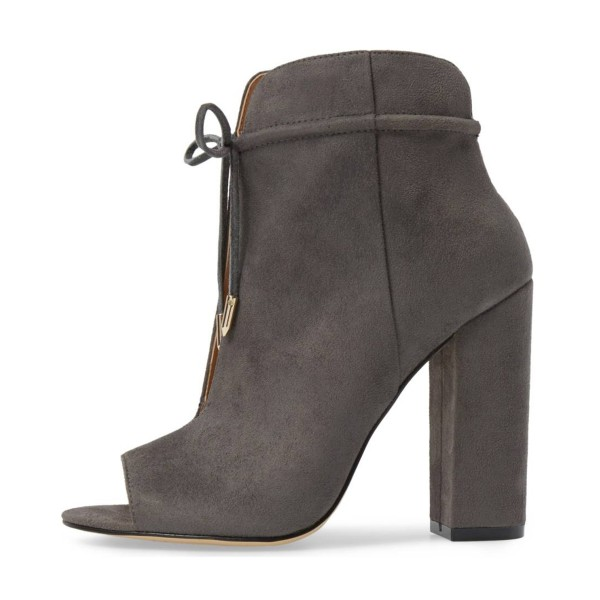 Women's Grey Lace Up Peep Toe Hollow Out Chunky Heel Boots  image 4