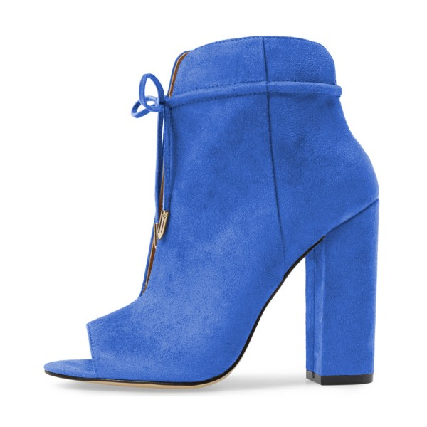 Blue Lace up Heels Peep Toe Hollow Out Chunky Heel Boots  image 3