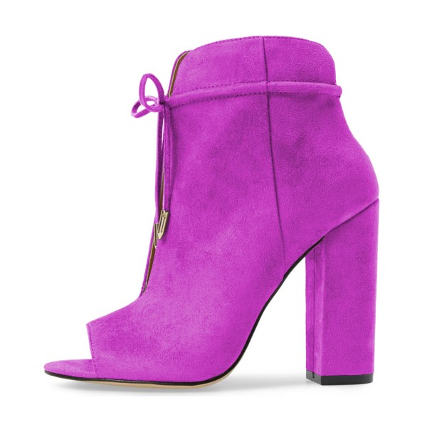 Women's Plum Chunky Heel Boots Lace up Peep Toe Ankle Booties image 4