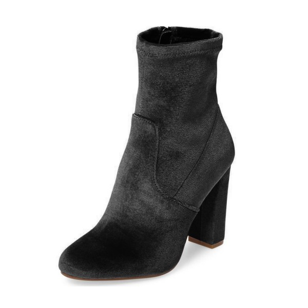 Women's Grey Suede Pointed Toe Ankle Chunky Heel Boots image 1