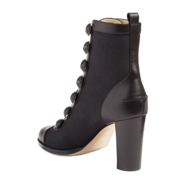 Black Chunky Heel Boots Round Toe Buttoned Ankle Boots image 3