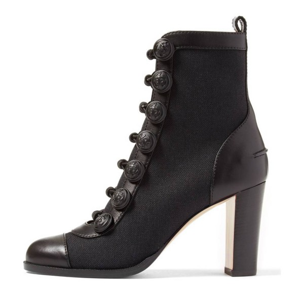 Black Chunky Heel Boots Round Toe Buttoned Ankle Boots image 4