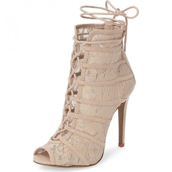 Nude Lace up Boots Peep Toe Lace Stiletto Ankle Booties for Wedding image 1