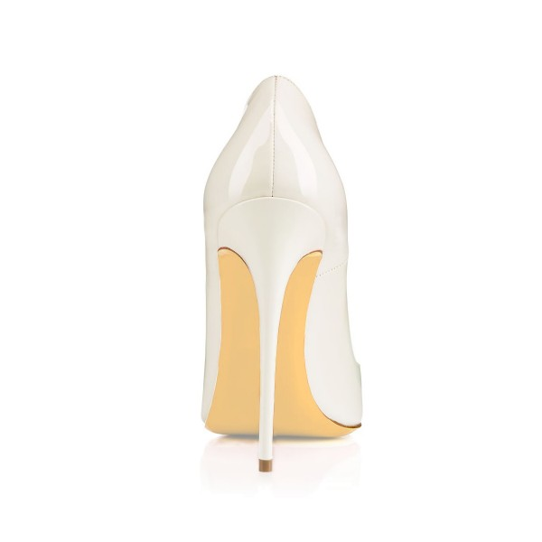 Women's Pointy Toe White Floral Office Heels Pumps image 4
