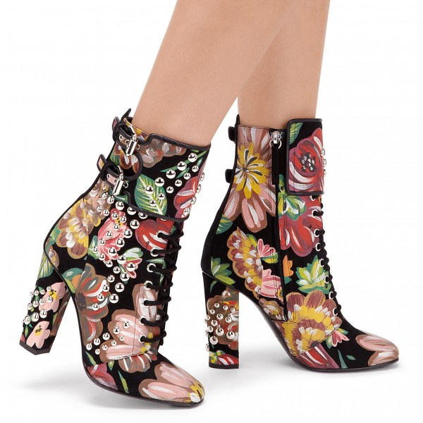 Floral and Studs Lace up boots Buckles Chunky Heels Ankle booties image 2