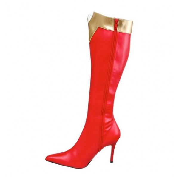 Wonder Women Red&Golden Patent Leather Stiletto Heels Knee-high Boots for Halloween image 1