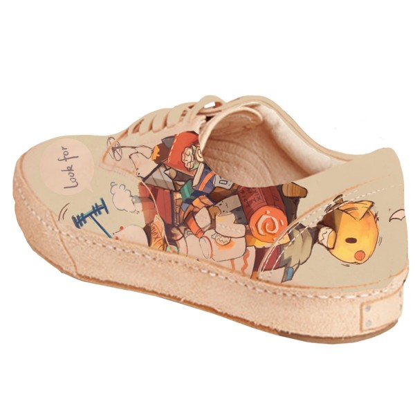 Women's Brown Cartoon Printed Slippers Lace Up Comfortable Flats image 4
