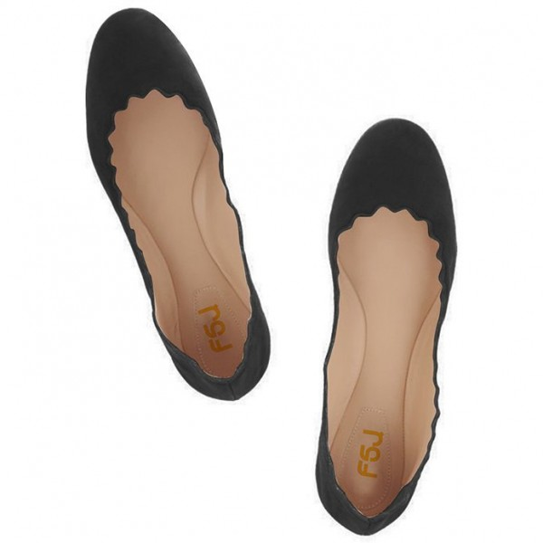 Black Comfortable Flats Suede Round Toe Shoes image 2