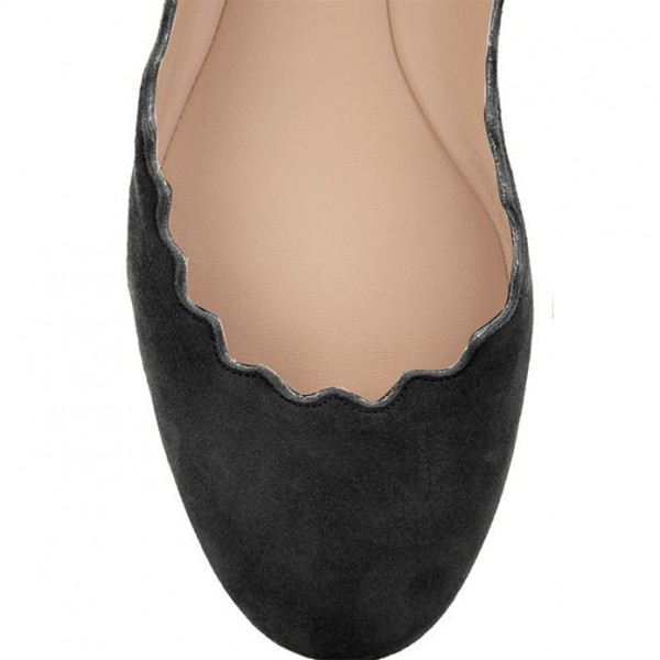 Black Comfortable Flats Suede Round Toe Shoes image 4