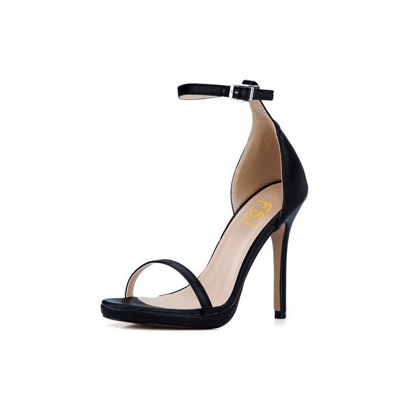 Leila Black Commuting Open Toe Ankle Strap Platform Stiletto Heel Sandals image 3