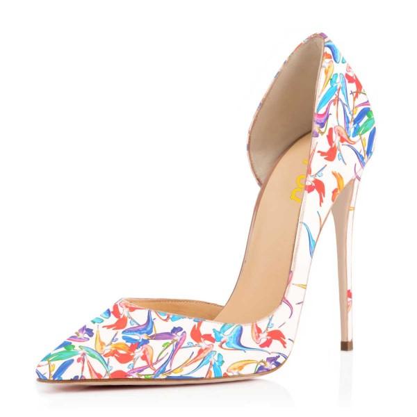 White Floral Heels Pointy Toe D'orsay Pumps Stiletto Heels image 1