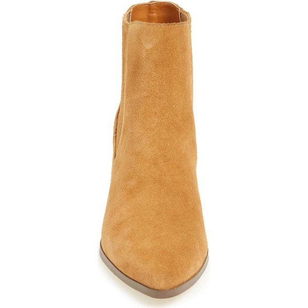 Mustard Suede Wooden Chunky Heel Boots Pointy Toe Comfy Ankle Boots image 3