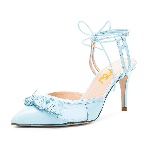 9e90abe393 Women's Light Blue Tassels Decorated Strappy Stiletto Heel Sandals Ankle  Strap Heels image ...