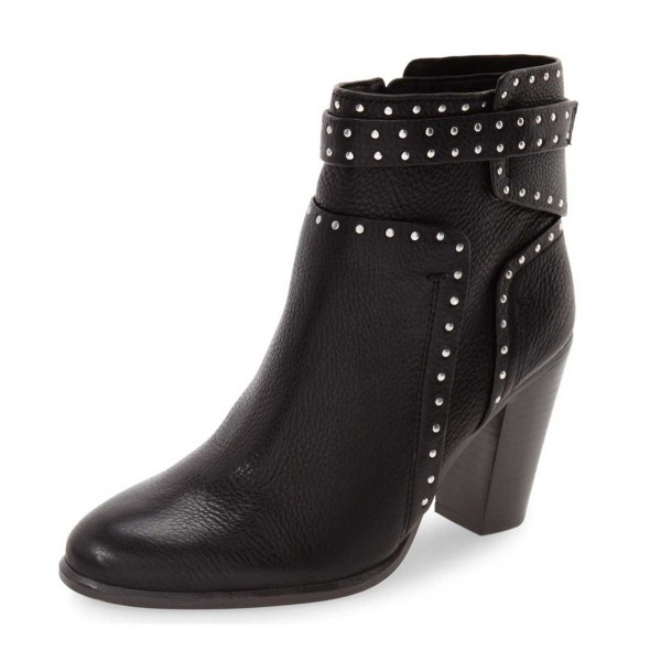 d52daed96e8 Black Chunky Heel Boots Round Toe Studded Ankle Booties