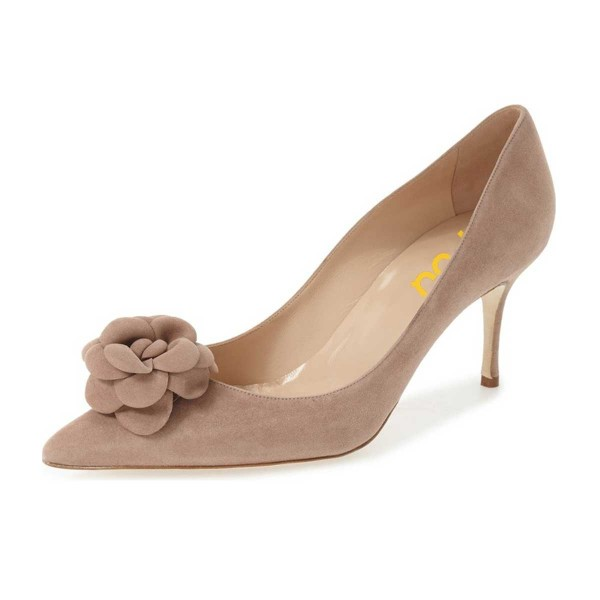 Light Brown Suede Shoes Pointy Toe Kitten Heel Pumps with Flower image 1