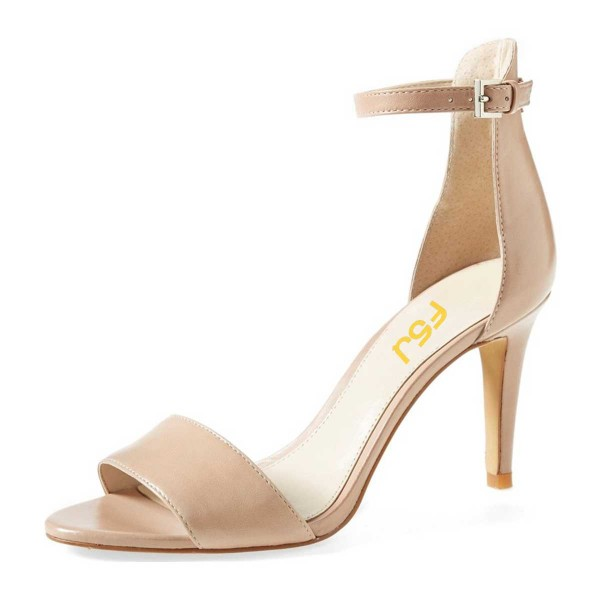 dd402519d16d Nude Low Heels Ankle Strap Sandals Open Toe Stiletto Heel Sandals image 1  ...