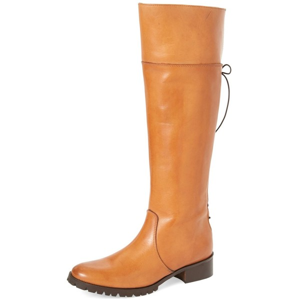 Tan Fashion Boots Round Toe Flat Riding Boots image 1