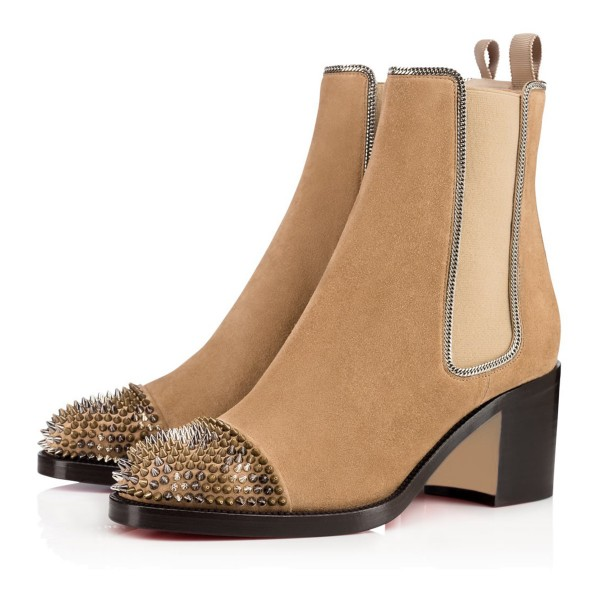 Khaki Chunky Heel Boots Rivets Round Toe Suede Ankle Boots image 1