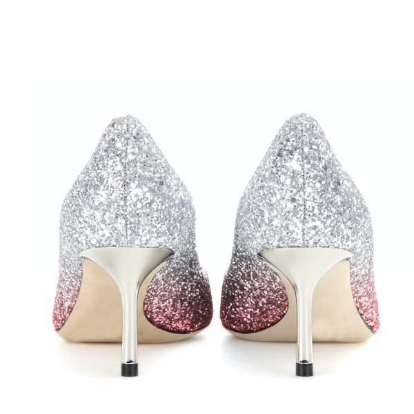 Pink and Silver Bridal Heels Sparkly Pointy Toe Glitter Kitten Heels Pumps image 3
