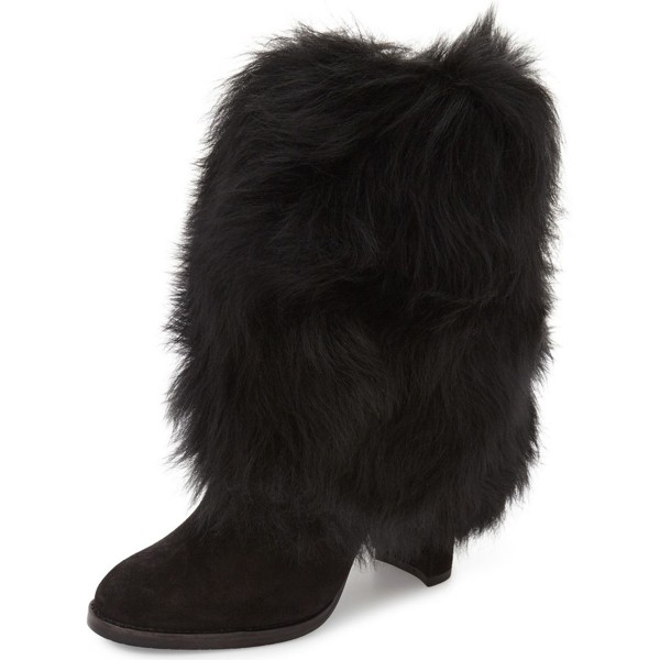 Black Fur Boots Chunky Heel Mid-calf Snow Boots image 1