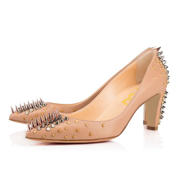 Apricot Chunky Heels Pointy Toe Pumps Party Shoes with Rivets image 4