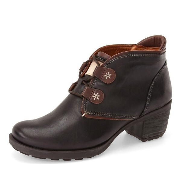 Women's Brown Lace-up Chunky Heels Vintage Boots image 1