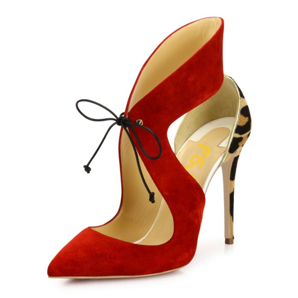Coral Red Suede Lace-up Leopard-print Stiletto Heel Pumps image 1