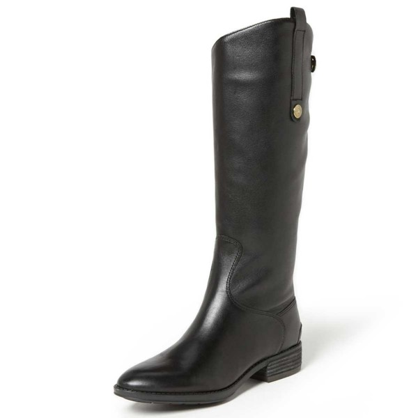 Black Riding Boots Fashion Vegan Leather Low Heel Knee Boots image 1