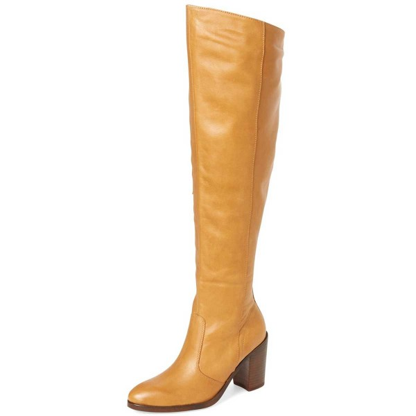 Mustard Knee Boots Round Toe Chunky Heel Long Boots by FSJ image 1