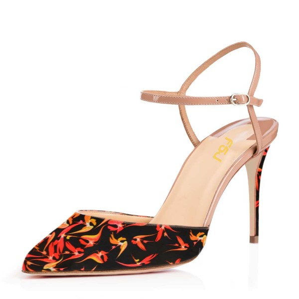 Maple Floral Heels Suede Closed Toe Sandals Stiletto Heels image 1