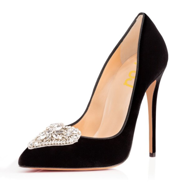 Black Velvet Heels Pointy Toe Stiletto Heels Rhinestone Office Shoes image 3