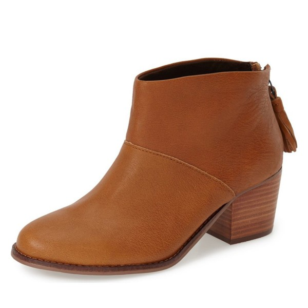 Tan Boots Round Toe Wooden Chunky Heel Vintage Ankle Booties image 1