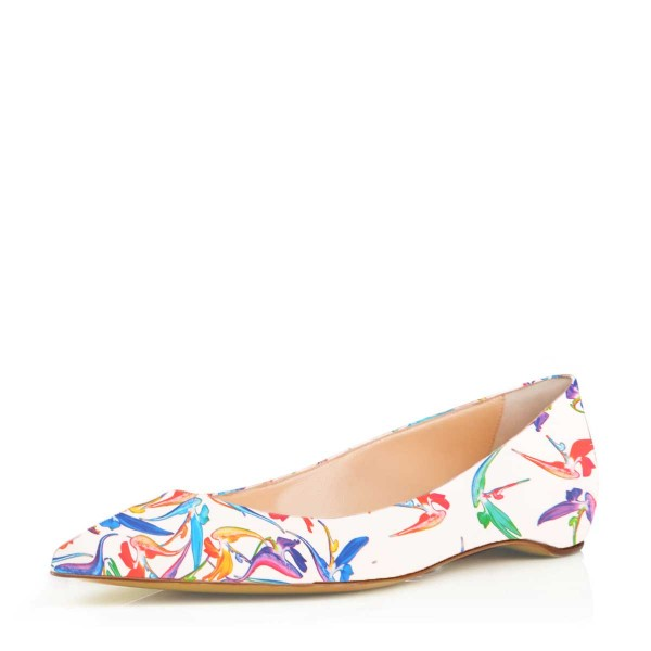 White Floral Pointy Toe Flats Comfortable Cute Shoes image 1