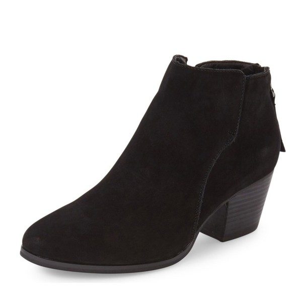 Black Chunky Heel Boots Suede Boots Round Toe Ankle Booties image 1