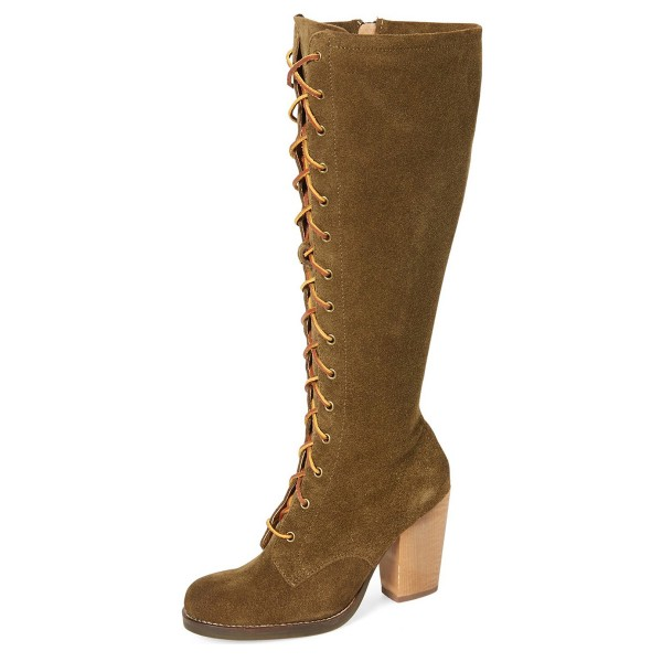 Brown Lace up Boots Knee-high Suede Chunky Heels  image 1