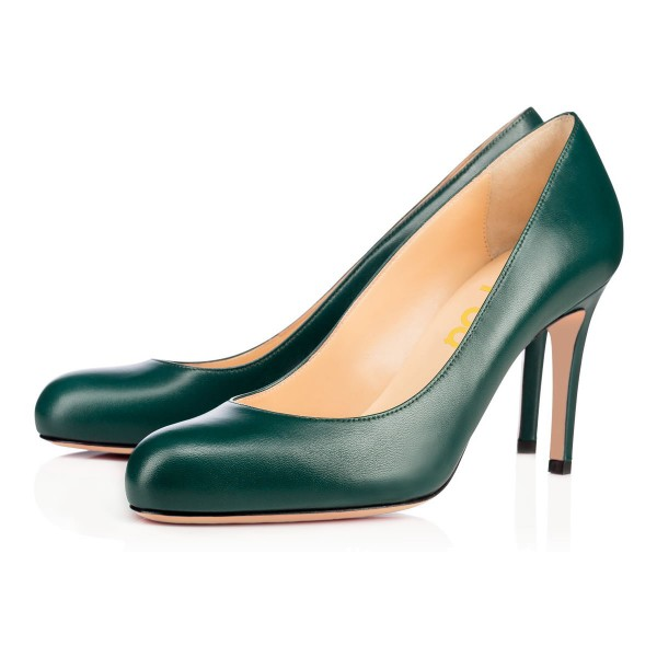 On Sale Green Round Toe Stiletto Heel Pumps 3 Inch Heels image 1