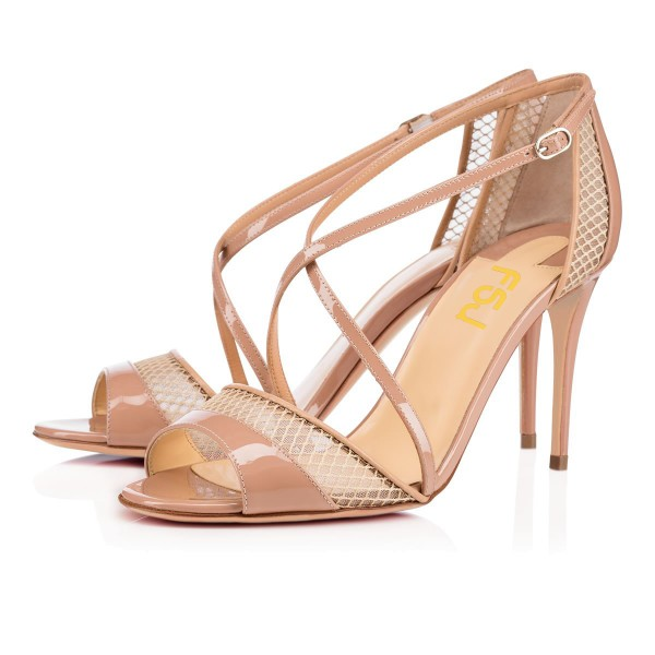 Women's Nude Mesh Cross-Over Strappy Stiletto Pumps Heel Sandals image 1