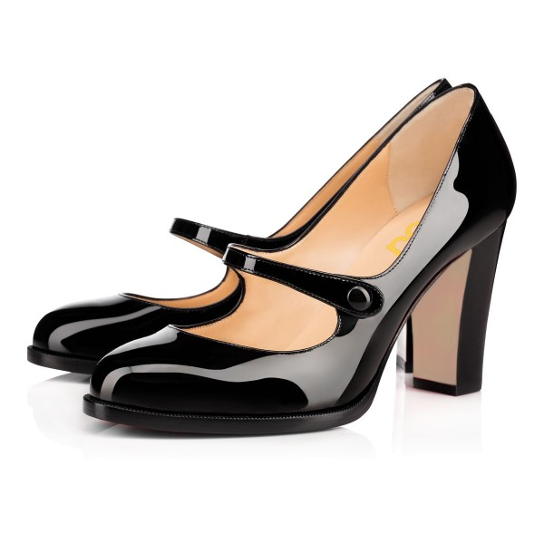 Black Mary Jane Pumps Patent Leather Block Heel Vintage Shoes image 1