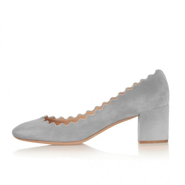 Grey Block Heels Suede Shoes Round Toe Casual Pumps image 3