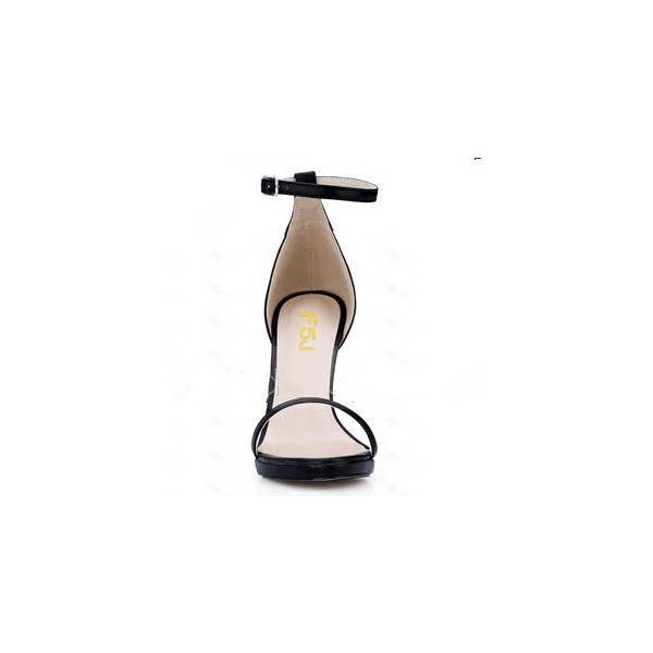 Leila Black Commuting Open Toe Ankle Strap Platform Stiletto Heel Sandals image 2