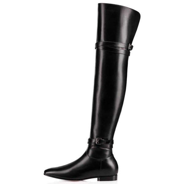 FSJ Black Flat Boots Vegan Leather Over-the-Knee Boots image 2