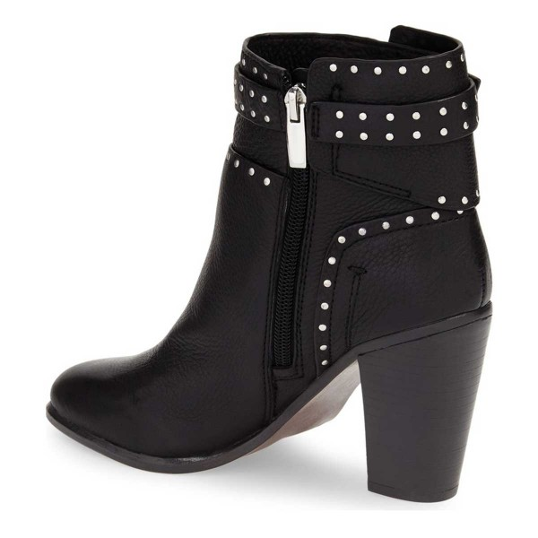 Black Chunky Heel Boots Round Toe Studded Ankle Booties image 2