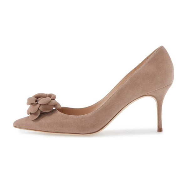 Light Brown Suede Shoes Pointy Toe Kitten Heel Pumps with Flower image 3